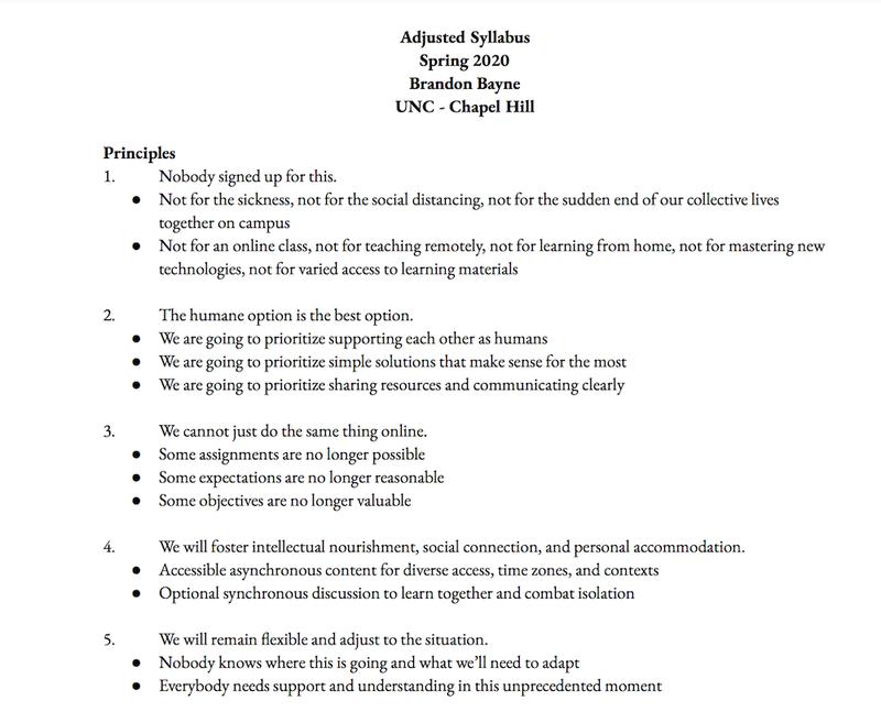 UNC adjusted syllabus